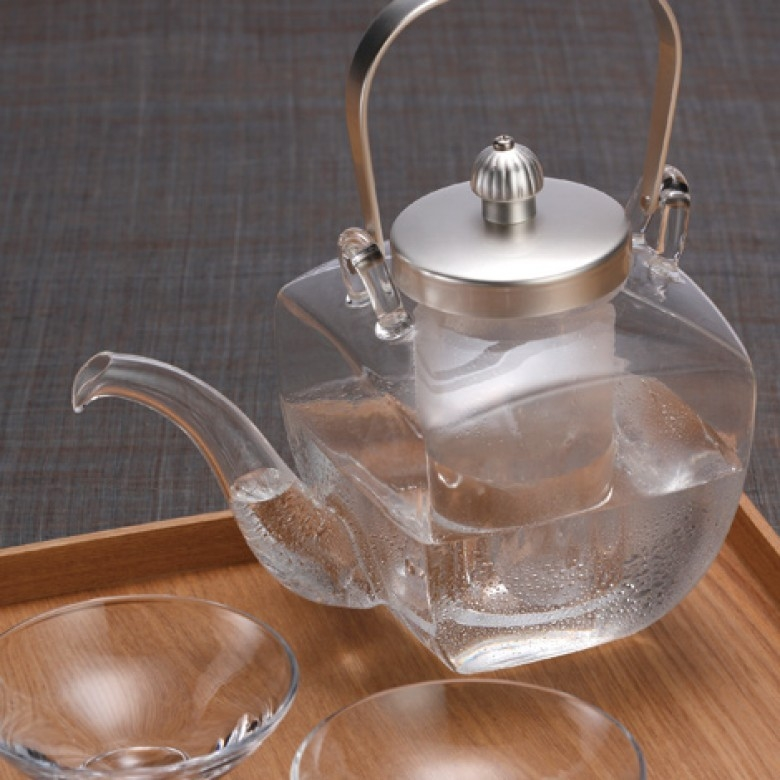 日本广田硝子·银色角型酒壶酒杯套组