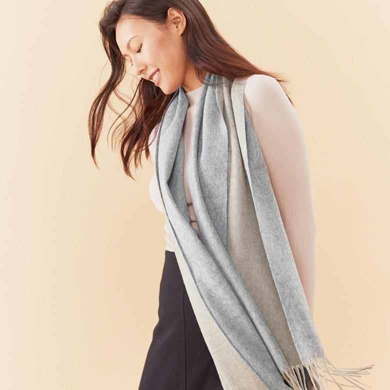 子时·2019冬季新品双色羊绒围巾·4色选