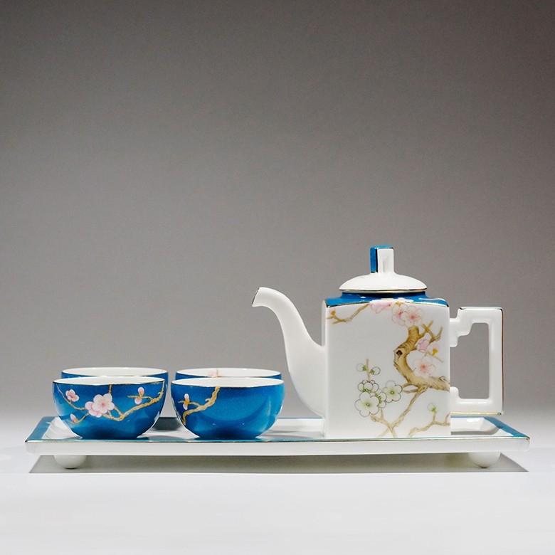 Asianera手绘骨瓷 · 梅在春天方壶茶具套装