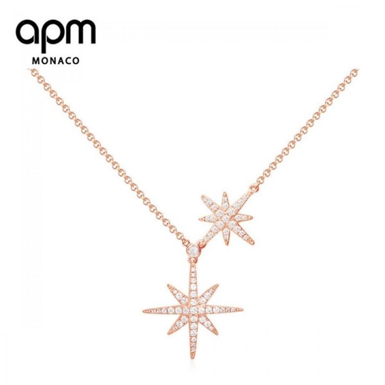 摩纳哥APM Monaco·双流星项链轻奢锁骨链星星RC3351OX