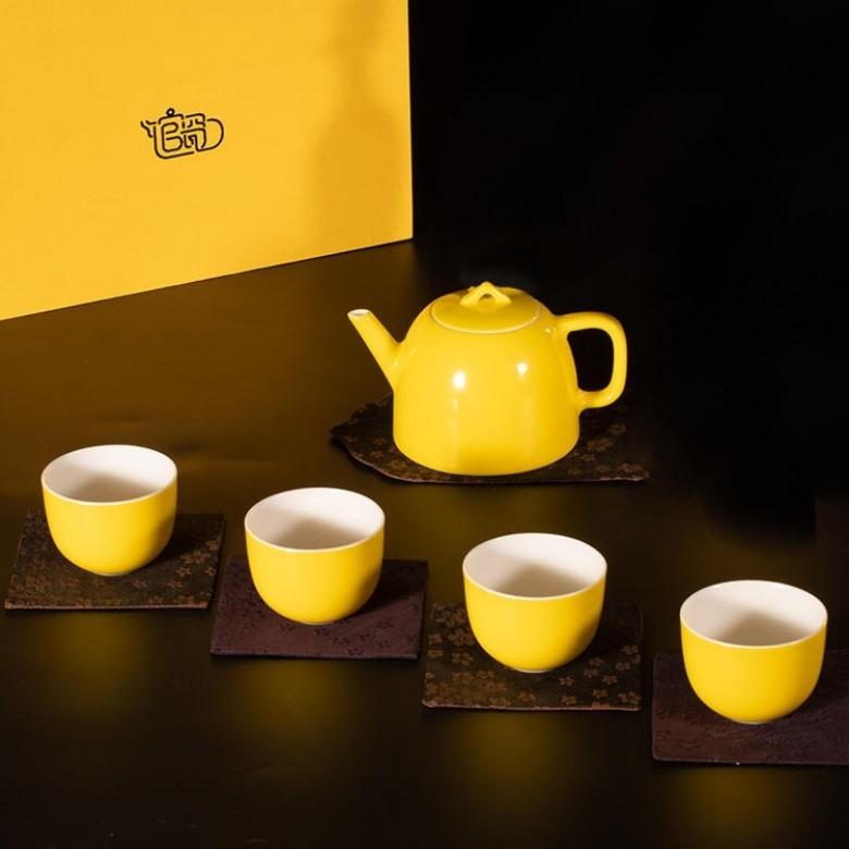 馆瓷·柠檬黄釉壶组全家福一壶四杯