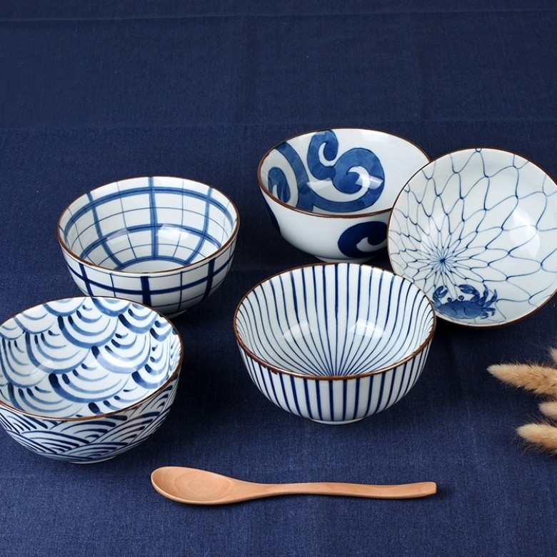日本波佐见 ·蓝绘染付饭碗5件套