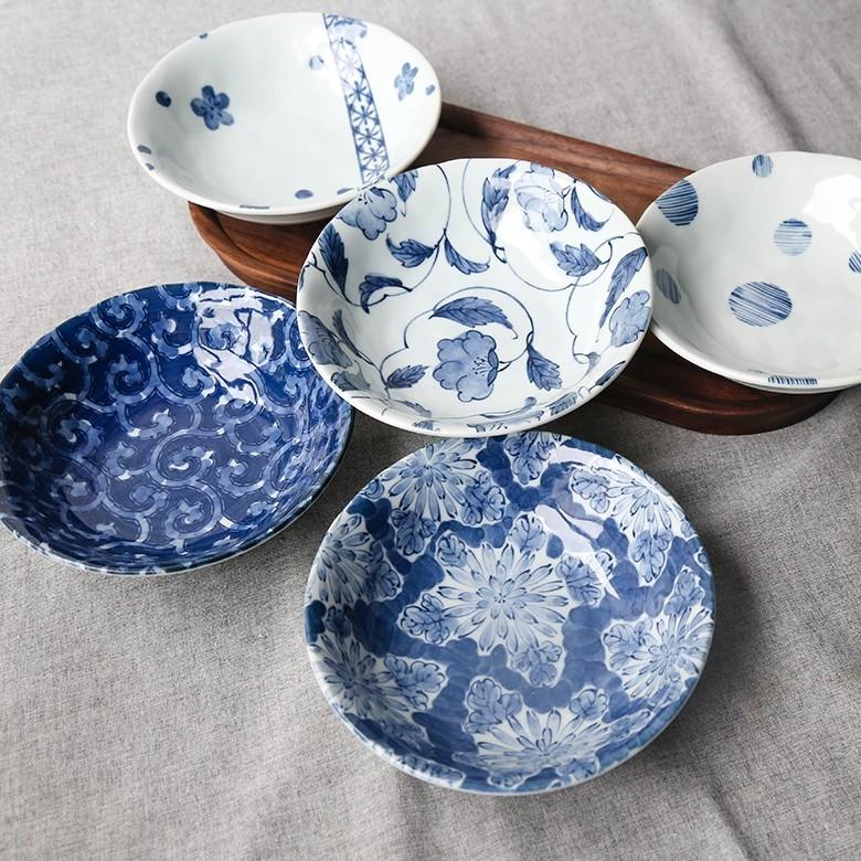 日本波佐见·蓝绘5寸盘五只套装组