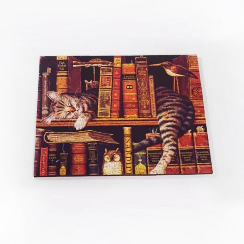 日本MR.CHOO PUZZLES·书架上的猫 262片异型木制拼图玩具
