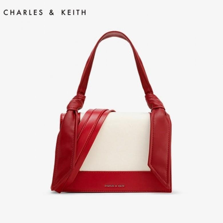 新加坡CHARLES&KEITH·耳朵包 CK2-50780523绳结帆布拼接女单肩包·3色选