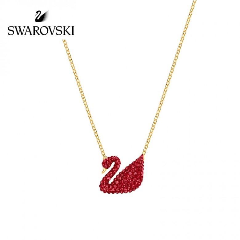奥地利SWAROVSKI·施华洛世奇红色天鹅ICONIC SWAN项链女 5465400  时尚经典优雅