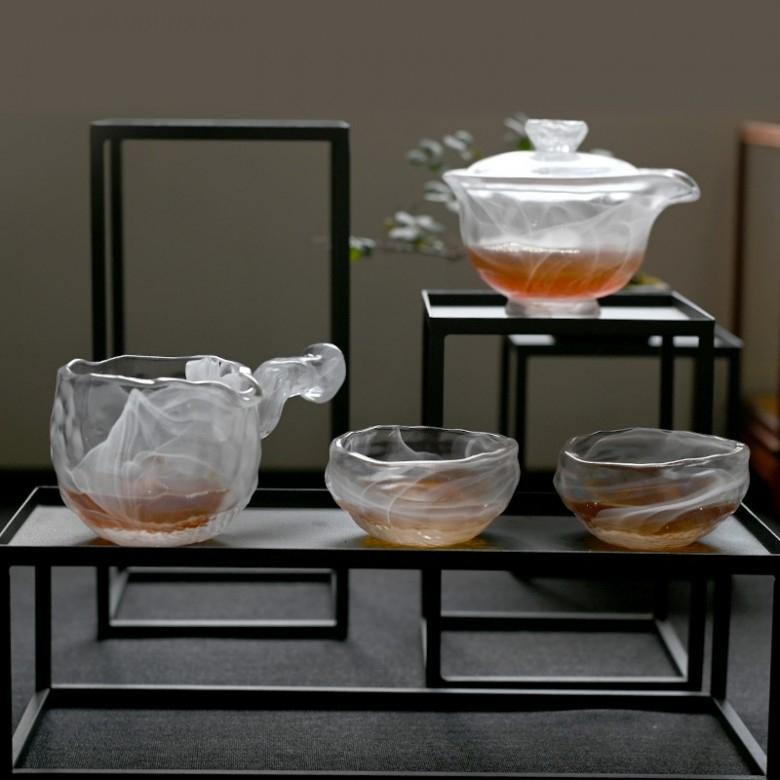 喜领·琉璃云雾茶具套装(盖碗+公道杯+2品茗杯)