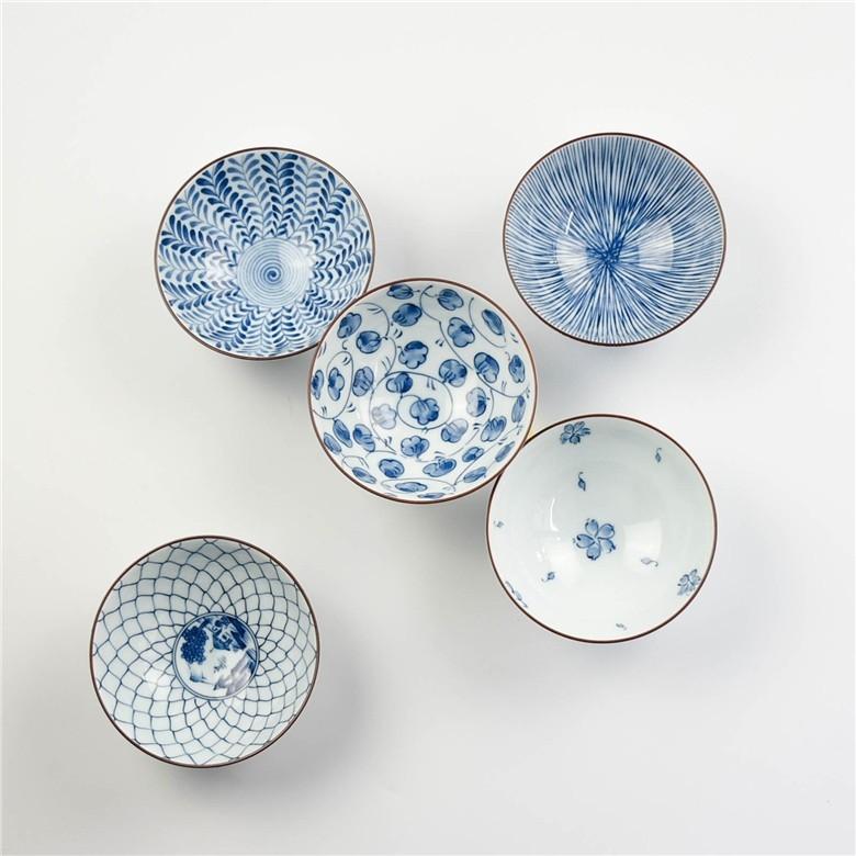 日本波佐见·蓝绘小碗五只盒装