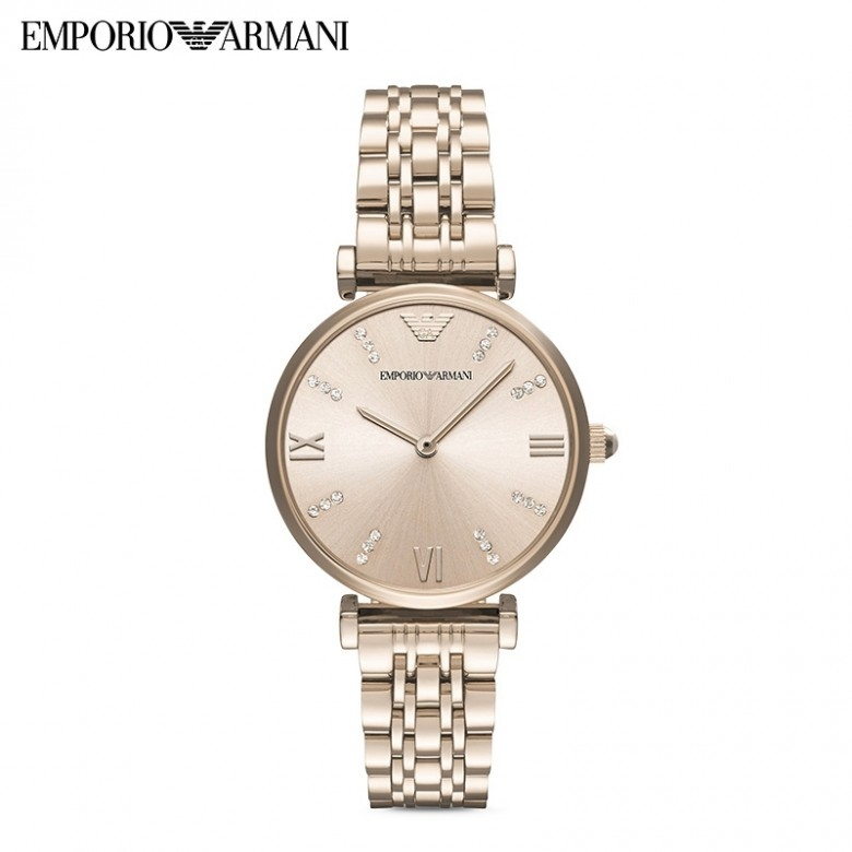 意大利EmporioArmani·阿玛尼满天星简约钢带镶钻石英女表 AR11059