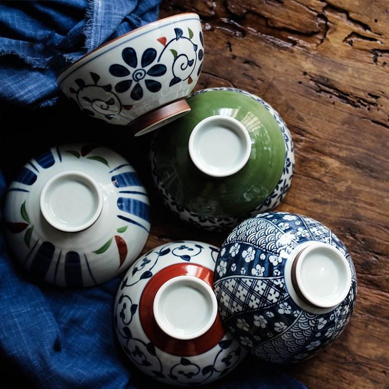 日本波佐见·染锦饭碗五只套装组